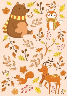 autumn design elements animals leaves icons colored cartoon