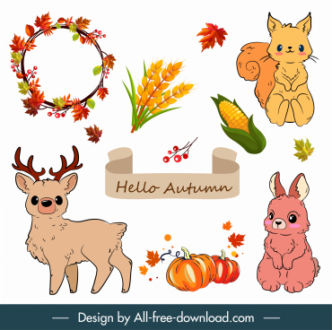 autumn design elements animals plants sketch classic design