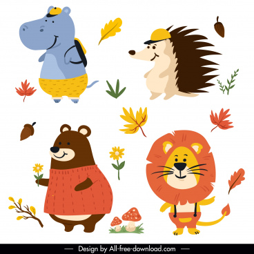 autumn design elements animals sketch cute stylized design