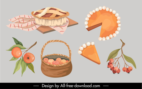 autumn design elements camping pies fruits sketch