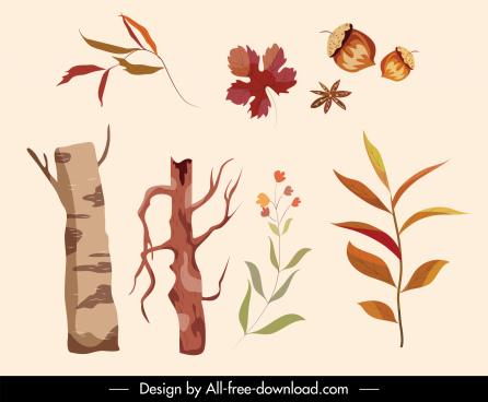 autumn design elements chestnut tree leaves sketch