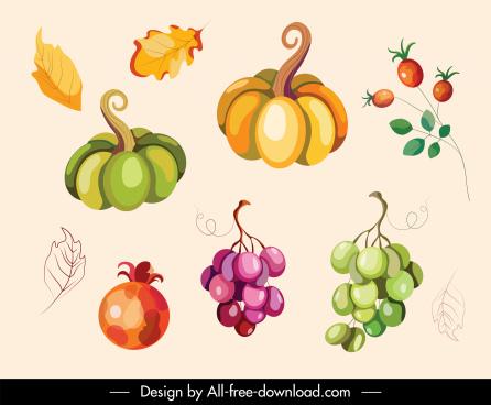 autumn design elements classical nature elements sketch