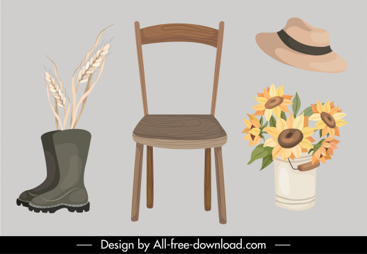 autumn design elements classical objects sketch