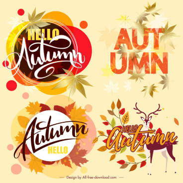 autumn design elements colorful leaves calligraphic decor