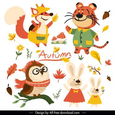 autumn design elements cute stylized animals plants sketch