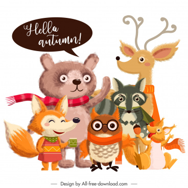 autumn design elements cute stylized cartoon animals sketch
