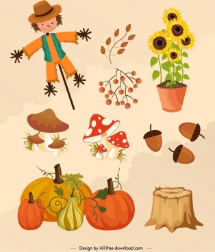 autumn design elements dummy plant icons multicolored design