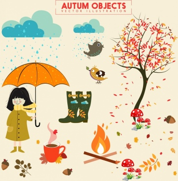 autumn design elements multicolored objects colored cartoon