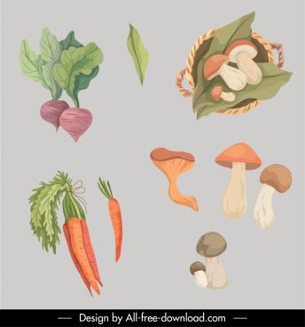autumn design elements vegetables sketch handdrawn classic