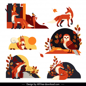 autumn design elements wild fox owl leaves sketch