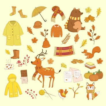 autumn design elements yellow brown design colored cartoon