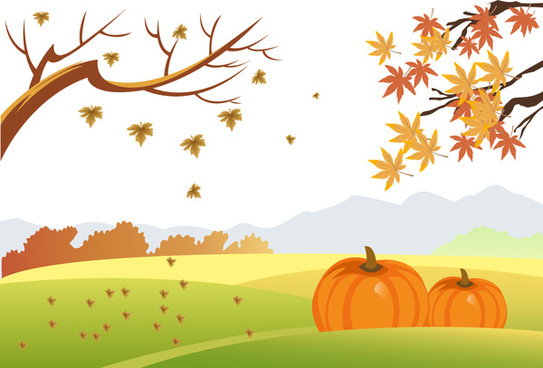 autumn drawing design with falling leaves and pumpkins
