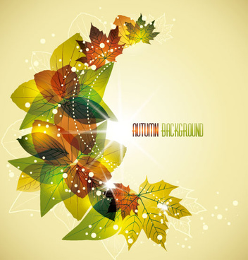 autumn elements vector background set