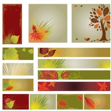 autumn flag banner with background vector