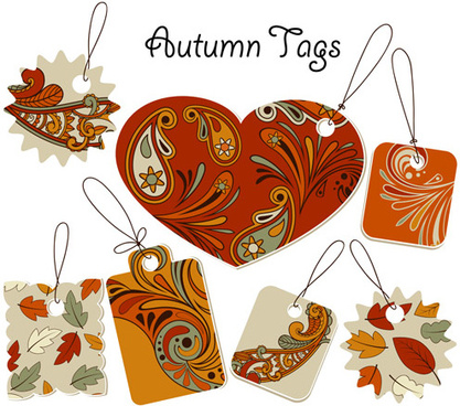 autumn floral tags design vector