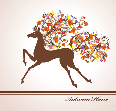 autumn floral with horse vector