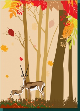 autumn forest drawing cartoon manner reindeer trees decoration