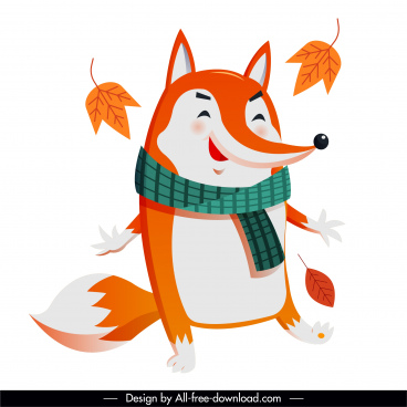 autumn fox icon cute stylized cartoon character sketch