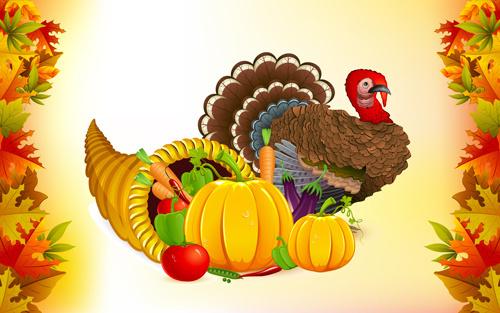 autumn harvest elements vector background set