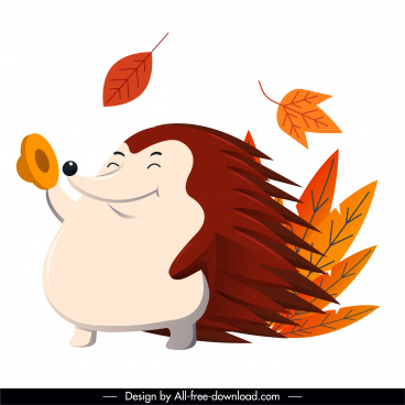autumn icon porcupine leaves sketch cartoon character