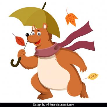 autumn icon stylized bear falling leaves cartoon design