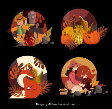 autumn icons colorful classic natural elements decor