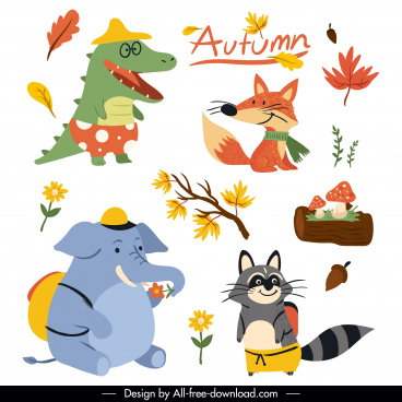 autumn icons cute colored stylized cartoon sketch