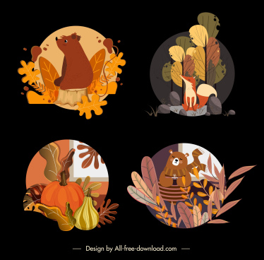 autumn icons dark colorful classic symbols sketch