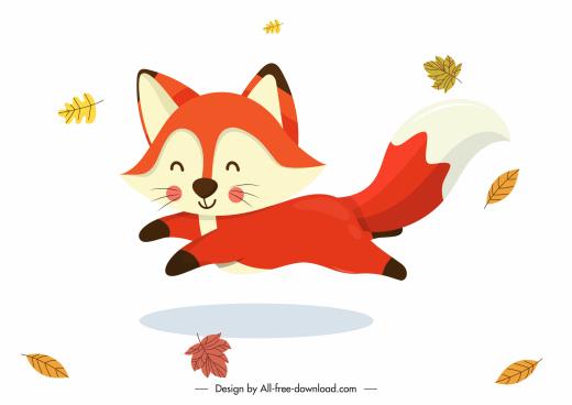 autumn icons joyful fox falling leaves cartoon design