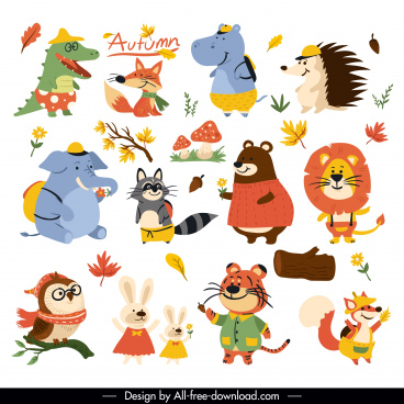 autumn icons stylized animals leaf sketch cartoon design