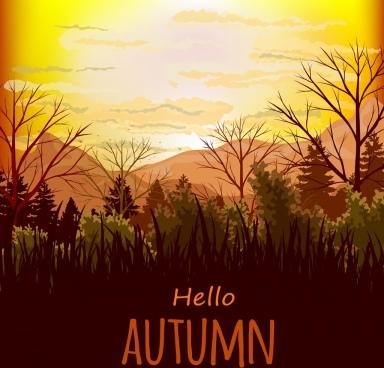 autumn landscape background mountain view ornament