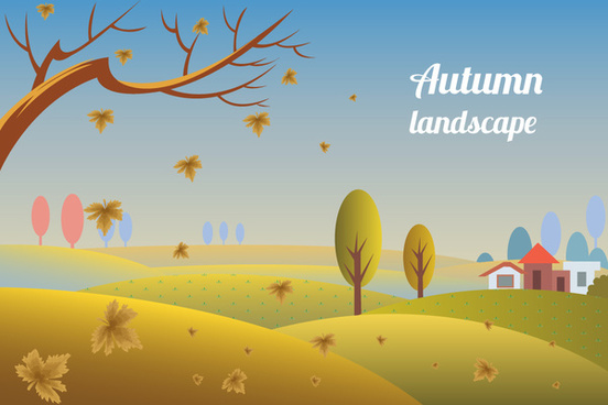 autumn landscape design with falling leaves and trees