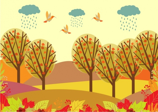 autumn landscape drawing colorful cartoon birds trees decoration