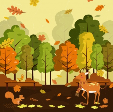 autumn landscape drawing falling leaves reindeers icons decor