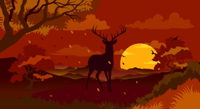 autumn landscape drawing silhouette reindeer falling leaves decoration