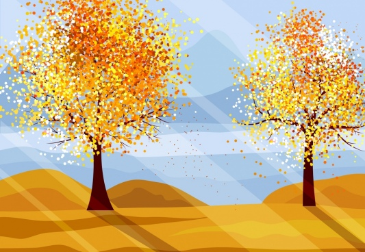 autumn landscape painting yellow flowers trees sunlight icons
