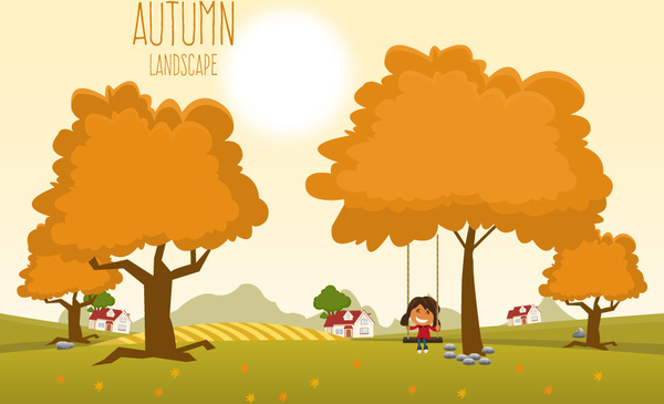 autumn landscape under sunshine vector illustration