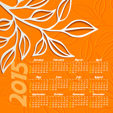 autumn leaf calendar15 vector