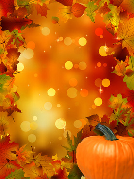 autumn leaves and pumpkins halation background vector