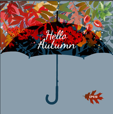 autumn leaves and umbrella vector background