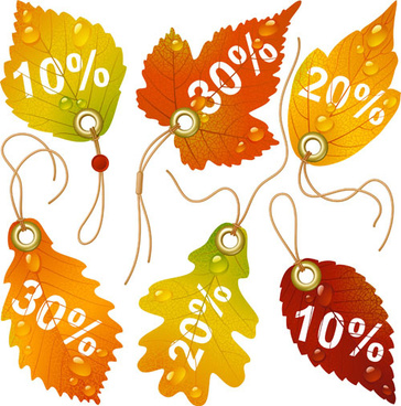 autumn leaves discounts tags vector