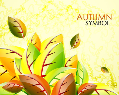 autumn leaves elements background vector set