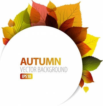 autumn background template colorful leaves decor bright modern
