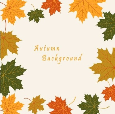 autumn leaves vintage art background vector