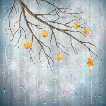 autumn leaves with raindrop vector background