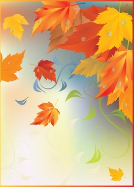 autumn background colorful wet flying leaves decor