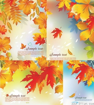 autumn background templates orange leaves decor