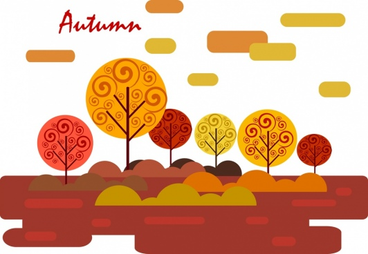 autumn natural scenery background orange trees sketch