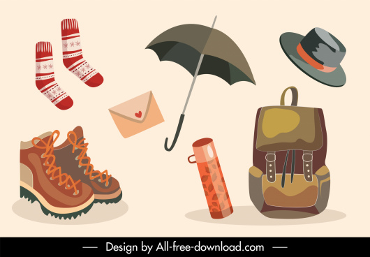 autumn objects icons personal tools sketch classic design