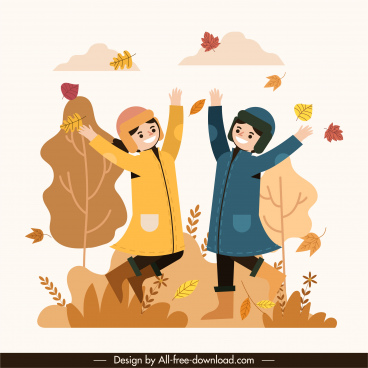 autumn painting active joyful friends falling leaves sketch